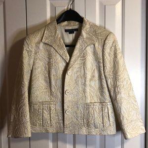 Lafayette 148 gold shimmery size 8 jacket /pockets
